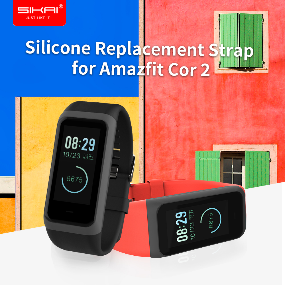 SIKAI Silicone Replacement <font><b>Strap</b></font> for <font><b>Amazfit</b></font> <font><b>Cor</b></font> <font><b>2</b></font> Wrist <font><b>Strap</b></font> Replaced Midong bracelet Band for Xiaomi Huami Wristband image