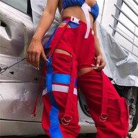 Helisopus 2019 High Waist Side Hollow Out Cargo Pants Fashion Button Split Casual Trousers Streetwear Women Patchwork Sweatpants