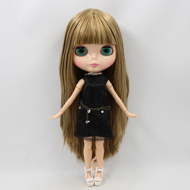 Blyth 1/6 Nude Doll golden Oily straight Hair natural skin with bangs/fringe joint body 30cm ICY BJD DIY toy No.230BL0662