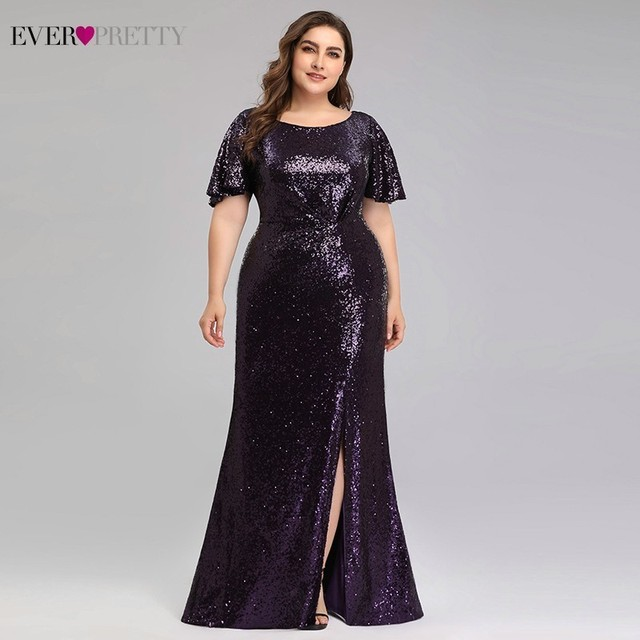 Plus Size Dark Purple Mermaid Evening Dresses Long Ever Pretty EP00928DP O-Neck Sequined Elegant Formal Dresses Robe De Soiree 3