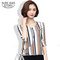 2017 Spring Summer New Korean Version Of The Small V Collar Fashion Women Blouse Seven Points