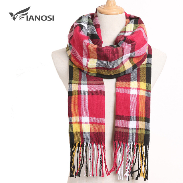 [VIANOSI] Winter Women Scarf Brand Foulard Plaid Scarves Fashion Casual Poncho Scarfs Luxury Bufandas 4