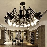 LED Ретро паук черный кулон свет гибкий подвесной светильник для внутреннего повешение Лампы для мотоциклов люстры Abajur светильник e27 освещен
