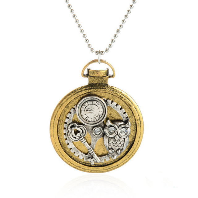 Vintage steampunk necklace antique owl clock echanical gear vintage steampunk necklace antique owl clock echanical gear pendant retro punk jewelry bead chain necklace for mozeypictures Images