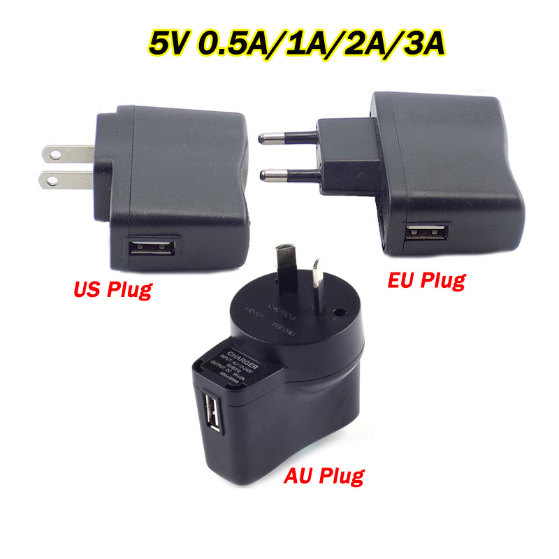 DC <font><b>5V</b></font> Power <font><b>Adapter</b></font> <font><b>Micro</b></font> <font><b>USB</b></font> Charging Port 0.5A/1A/2A/3A AC to DC 100V 240V Converter Charger For LED Strip Lamp Light US/EU/AU image