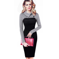 Women Long Sleeve Vintage Dress Patchwork Office Plaid Dress Autumn Winter Bodycon Dress Pencil Party Elegant