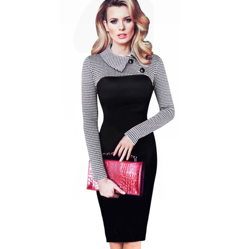Women Long Sleeve Vintage Dress Patchwork Office Plaid Dress Autumn Winter Bodycon Dress Pencil Party Elegant