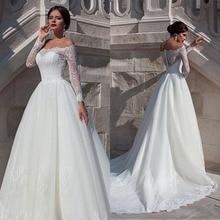 Fabuleuse robe de mariée en Organza à encolure dégagée avec Appliques en dentelle perlée manches longues robes de mariée 2019
