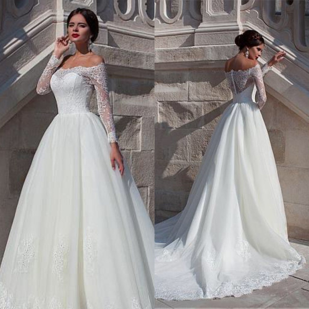 Fabulous Organza Off-the-shoulder Neckline Ball Gown Wedding Dress With Beaded Lace Appliques  Long Sleeve Bridal Gowns  2019