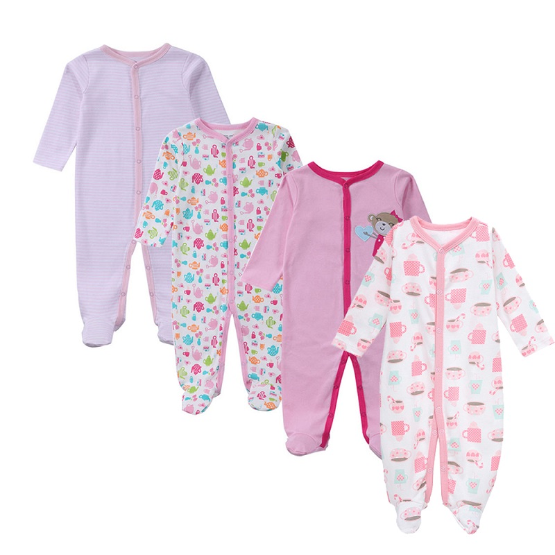 4-Piece Baby Girls Romper Long Sleeves 100% Organic Cotton Newborn Baby Clothes Infant Girls Clothing 2018 Spring Baby Rompers newborn baby rompers baby clothing 100% cotton infant jumpsuit ropa bebe long sleeve girl boys rompers costumes baby romper