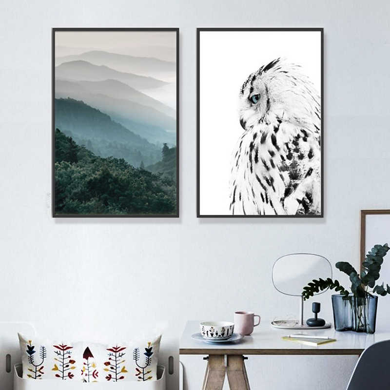 Nordic Forest Poster Black And White Owl Wall Art Canvas Painting Art Posters And Prints Wall Pictures For Living Room Frameless