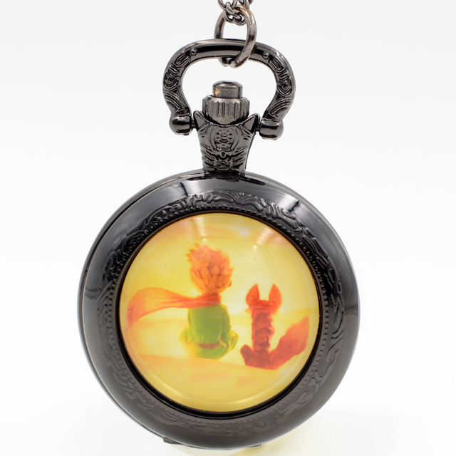 Fashion The little Prince and his Fox Black/Silver/Bronze Quartz Pocket Watch An