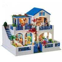 Европейский Классический Романтический DIY Кукольный дом с мебели деревянный дом, игрушки для детей подарок на день рождения дом ручной рабо