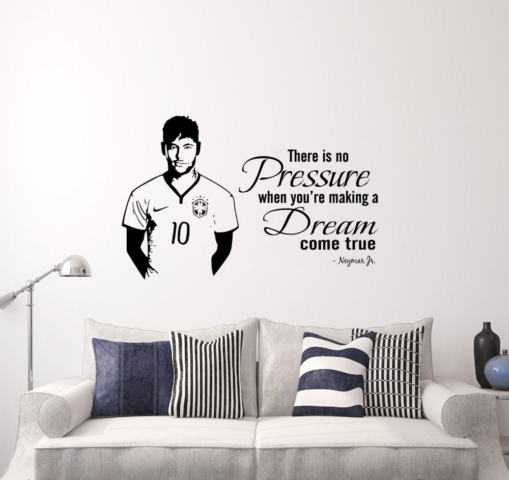 Neymar junior wall quote wall sticker footballer sports decals boy neymar junior wall quote wall sticker footballer sports decals boy bedroom decoration 2 sizes in wall stickers from home garden on aliexpress amipublicfo Image collections