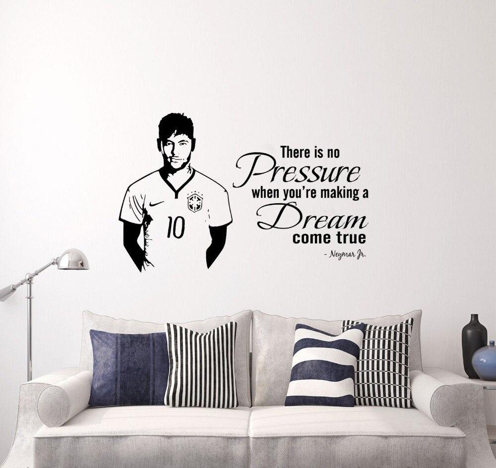 Neymar Junior Wall Quote Wall Sticker Footballer Sports Decals Boy