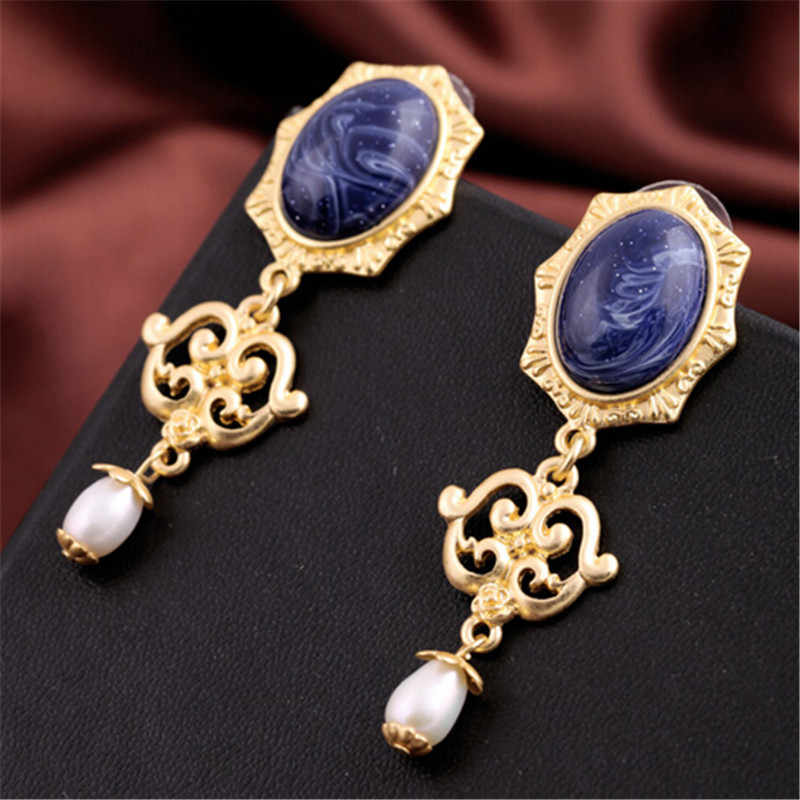 Wing Yuk Tak New Real Orecchini Pendientes Mujer Fashion Brand Bohemian Color Gorgeous Stone Drop Earrings Charm Jewelry