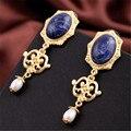 Мода марка чешские золото великолепная синий природный камень серьги шарм ювелирных изделий