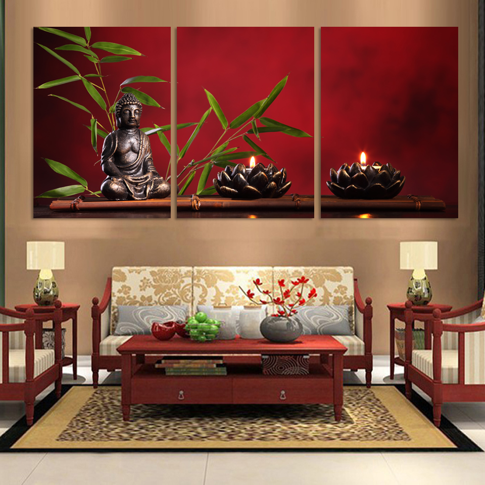 3piecesset free shipping large buddha painting decor arts printed on canvas no frame wholesale