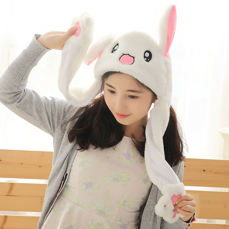 Kids Cute Bunny Rabbit Plush Hat Pinching Ear Up Down Rabbit Airbag Cap Funny Toy Gift For Kids Girls Girlfriend Children Party