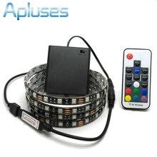 Battery LED Strip 5050 RGB 5V Black PCB Tape Lighting DIY Home Decorative Lamp With Battery Box + 17Key RF Controller