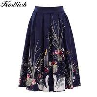 Kostlish 2017 Retro Print Summer Skirts Womens High Waist 50s Vintage Midi Skirt Elegant Slim Big