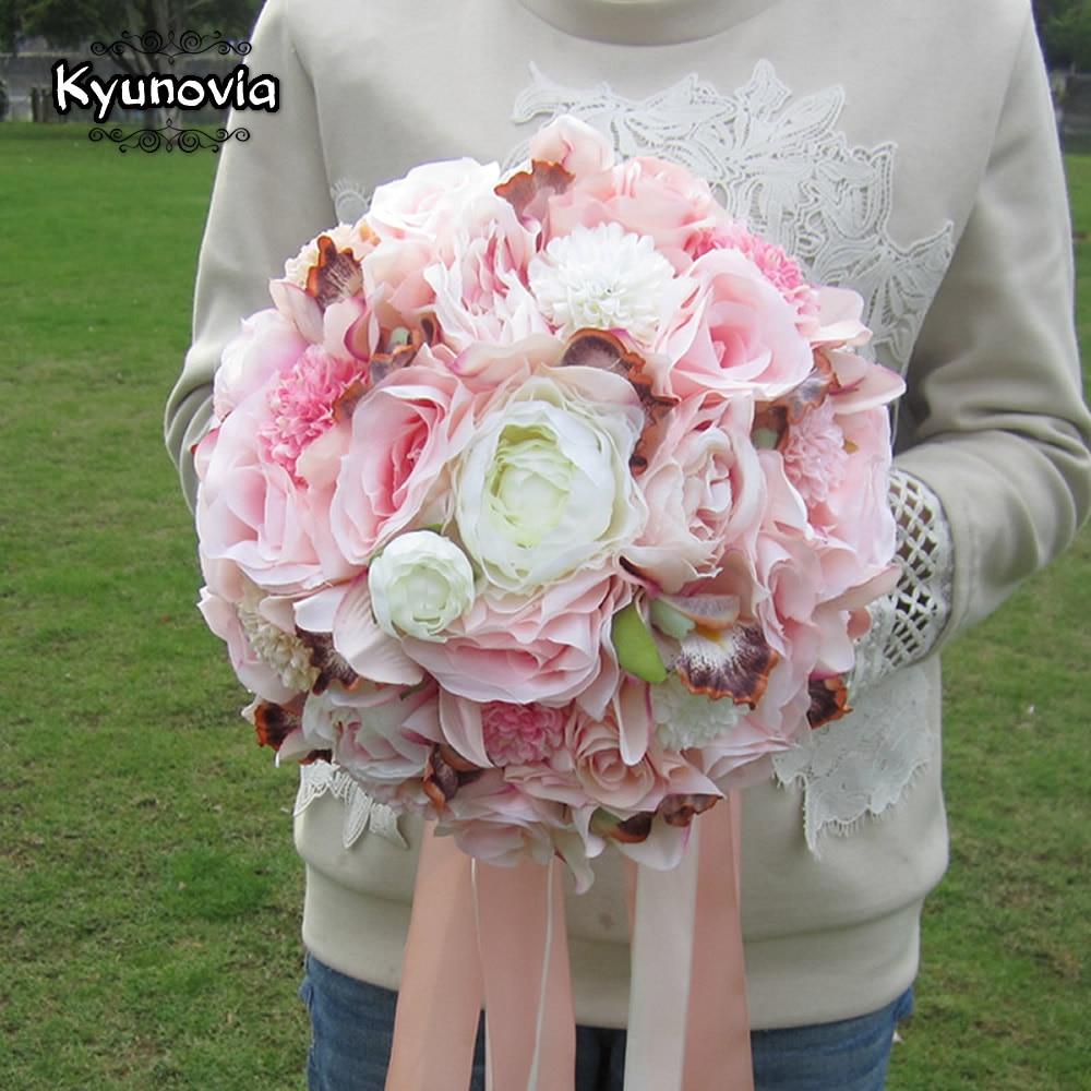 Kyunovia коприна сватбен букет цветя - Сватбени аксесоари - Снимка 5