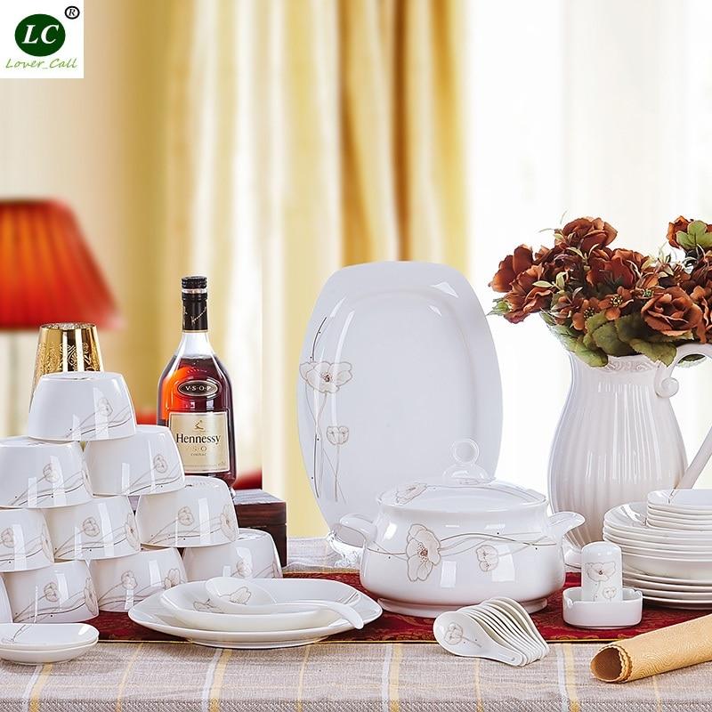 28pcs/56pcs Dinnerware Set Ceramic Combination Tableware Bone China Dinnerware Sets Dinner Porcelain Dishes Set Plates Bowls