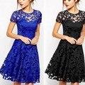 Элегантных Женщин Цветочный Кружева Dress С Коротким Рукавом Летний Повседневная Мини Dress Синий, красный, черный