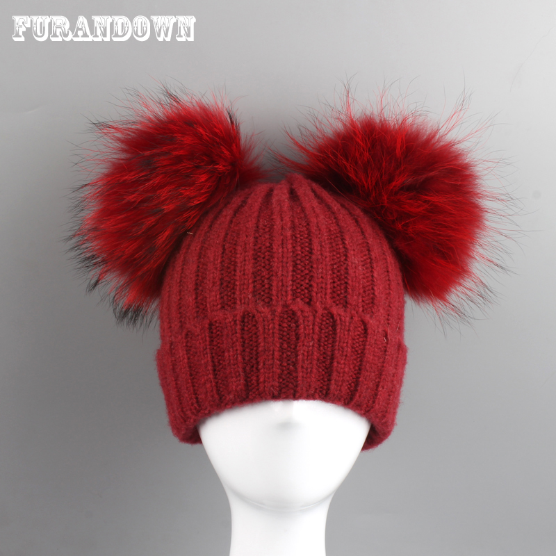 Real Mink Fur Pompom Hat Kids Winter Hats For Girls Boys Knitted Wool Cap Two Pom Poms Skullies Beanies 3-8 years old new star spring cotton baby hat for 6 months 2 years with fluffy raccoon fox fur pom poms touca kids caps for boys and girls