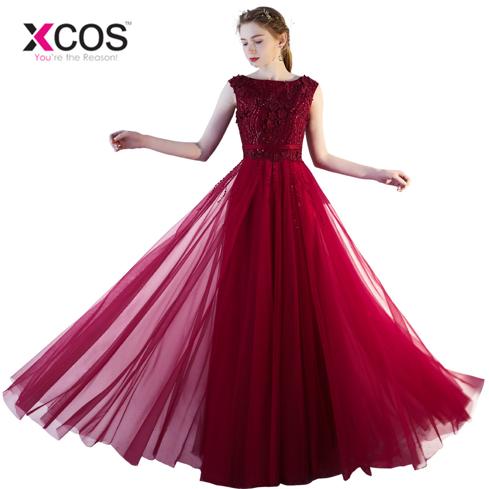 XCOS Lace Evening Dresses Women Appliques Scoop Waist Burgundy Wine Red 2018 Special Occasion Evening Dress Party Dress