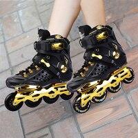 Black white Skate adult roller skates men and women roller skate shoes single row flat shoes inline