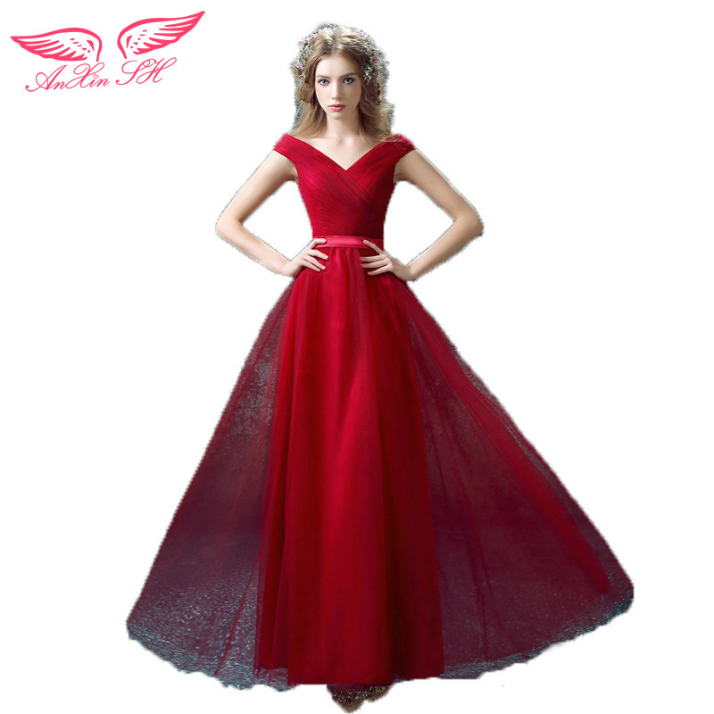AnXin SH Red bride prom dress a slim shoulder dress dinner annual red lace prom dress new 7590 S