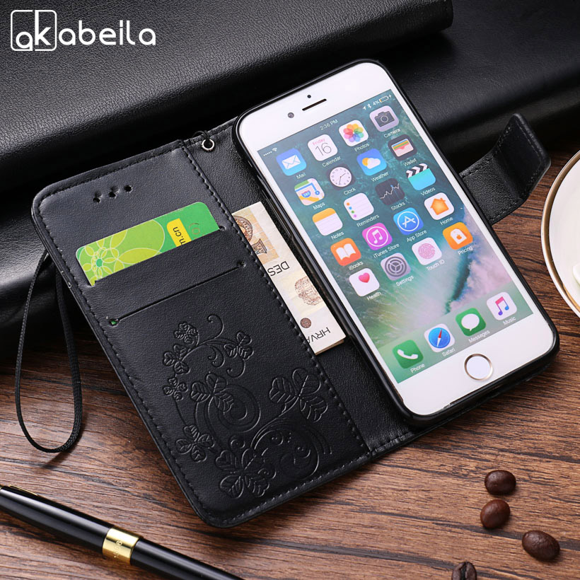 AKABEILA leather Cases For Microsoft Nokia Lumia 535 N535 Flip Cover Painted Case Wallet Card holder Phone Bags Shells Housings