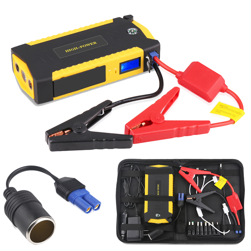 Fishberg 12v portable car battery jump starter emergency power bank booster starting device for car batteries Petrol Diesel mini car jump starter for petrol car auto starting car battery booster petrol starting device 12v power bank emergency discharge