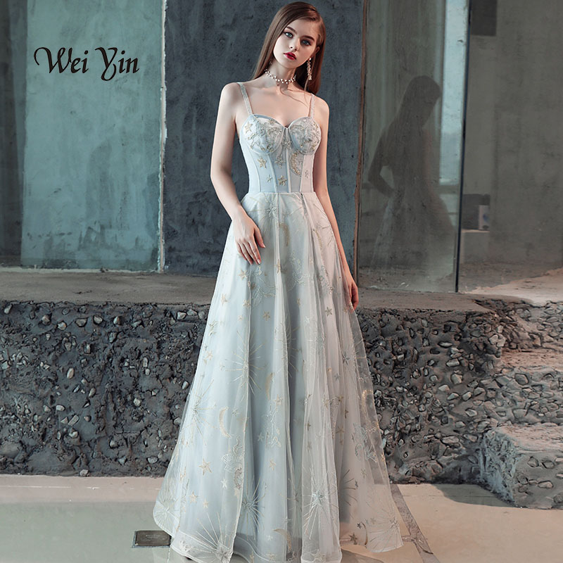 weiyin Sexy Long   Evening     Dresses   2018 Crystal Appliques Beaded Sleeveless Womens   Evening   Gowns Floor-length New Arrival WY806