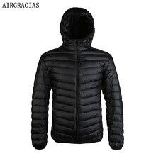 Airgracias Новое поступление белая утка Пух куртка Для мужчин осень-зима теплое пальто Для мужчин свет тонкий утка пуховое пальто LM005