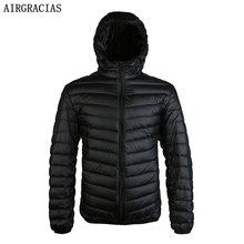 AIRGRACIAS White Duck Down Jacket Autumn Winter Warm Men's Light Thin Coats LM005