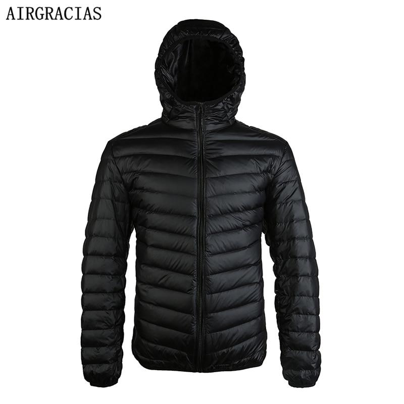 Airgracias 2017 Новое поступление белая утка Пух куртка Для мужчин осень-зима теплое пальто Для мужчин свет тонкий утка пуховое пальто LM005