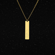 Name Necklace Free Engraved Word Letters Stainless Steel Gold Vertical Custom Nekclace Maxi Colar Silver jewelry