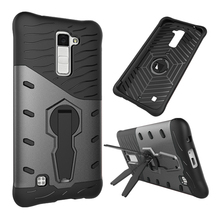 Uftemr case для lg k10 k8 k7 lte крышки hybird 2in1 двойной кремния hard plastic case for lg k 10 m2 сотовый телефон владельца стенда обложка