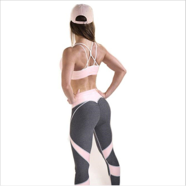 20720be7d63d0 2018 Hot Sale Patchwork Heart Hip workout Leggings Sportswear Women Fitness  High Waist Elastic Slim leggings Pants Dropshopping