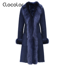 Clocolor women coat Wool Autumn Winter V-neck fur Collar Long Coat Female Ladies Elegant Patchwork Dark Blue Jacket women coat