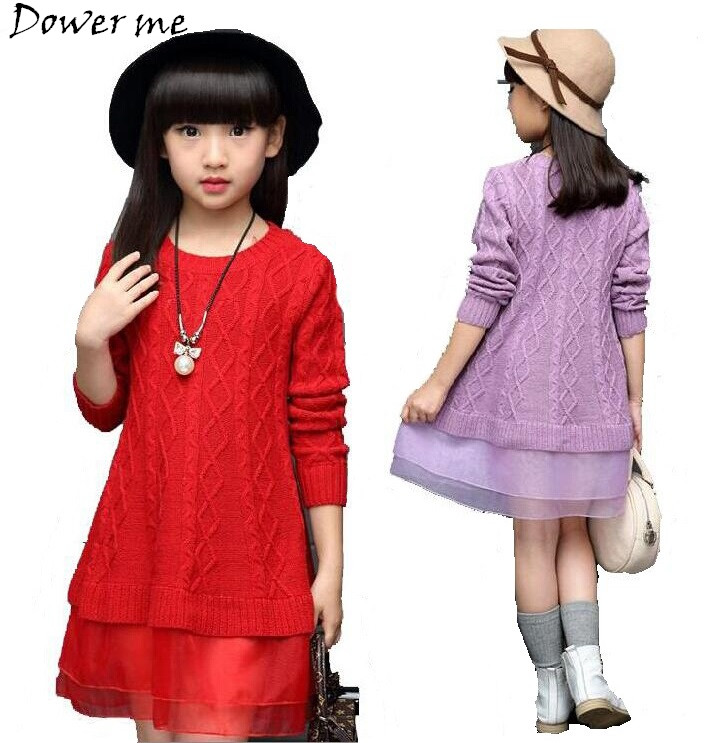 Kids Dresses For Teenage Girls Sweaters Clothing 2018 Autumn Winter knitted Sweater Dress Girls School Clothes 5 7 9 11 12 Years uoipae kids dress for girls winter 2018