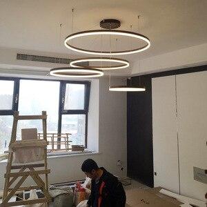 Image 3 - LukLoy Post Modern Rings Loft Chandelier Hotel Suspension Lamp Light Gold Bronze Living Room O Shape Ring Lamp