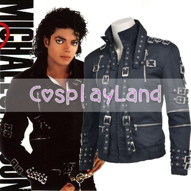 2017 Jacket Michael Jackson Dance Cosplay Costume Michael Jackson Jacket black Coat Top