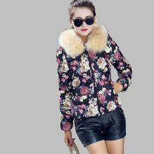 Winter Cotton Coat New Fashion Women Elegant Printing Jacket Thick Warm Fur collar Down jacket Large size Slim Women Coat G2733