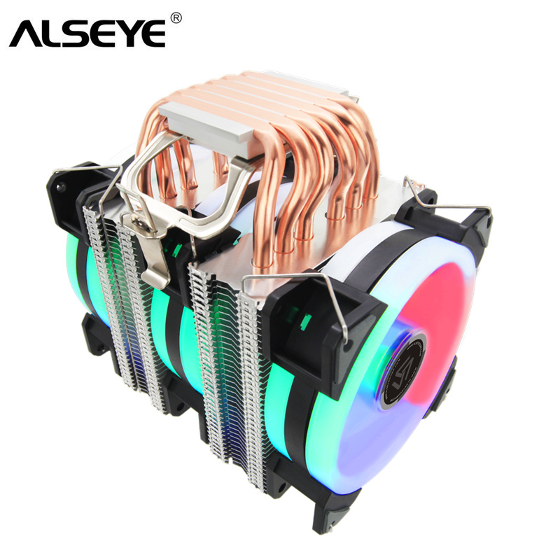 ALSEYE ST-90 CPU Cooler 6 Heat Pipes With RGB Fan 4pin PWM 90mm CPU Fan For Computer LGA775/115x/1366  AM2/AM3/AM4