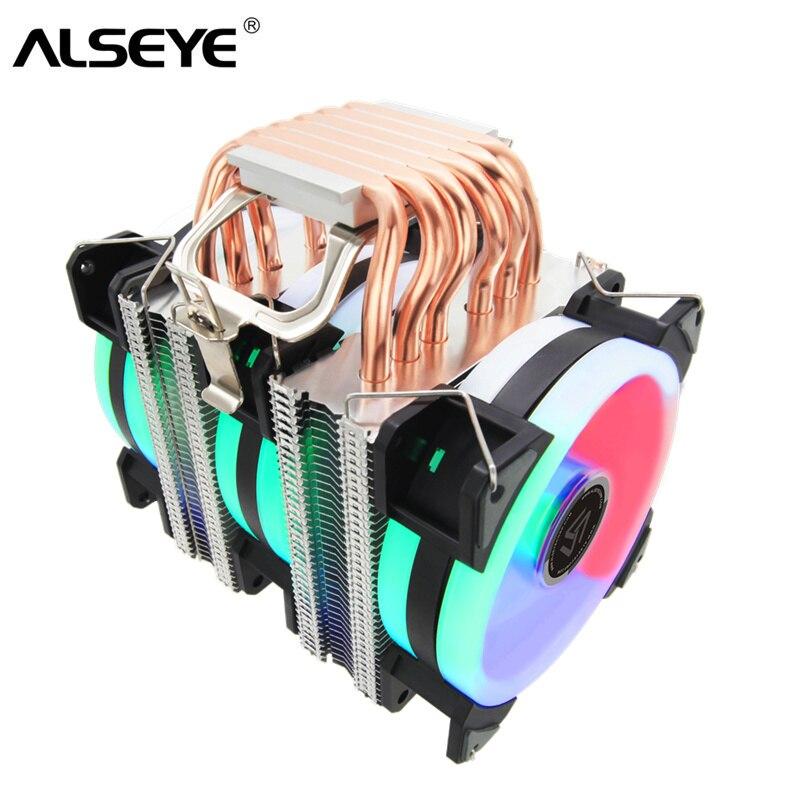 ALSEYE ST-90 enfriador de CPU 6 Heatpipes con RGB Fan 4pin PWM 90mm ventilador de CPU para computadora LGA775/115x /1366 AM2/AM3/AM4