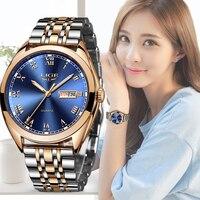 Lige relógio feminino e esportivo de quartzo  relógio de luxo casual de aço inoxidável à prova d'água  novo  2019