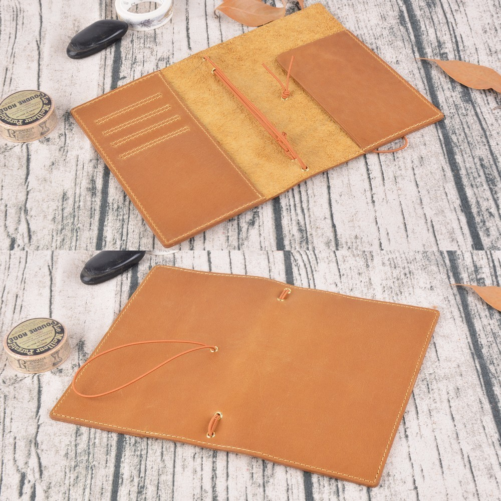 Image 5 - 20 Pieces / Lot Passport 130x105mm Genuine Leather Notebook Handmade Travel Journal With Card Holder Diary Sketchbook Planner-in Notebooks from Office & School Supplies